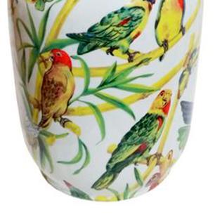 Vaso Decorativo em Cerâmica com Desenhos de Pássaros e Borboletas - 33x19cm