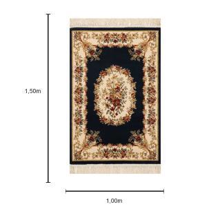 Tapete Persa Bege com Detalhes em Azul Escuro - 100x150cm