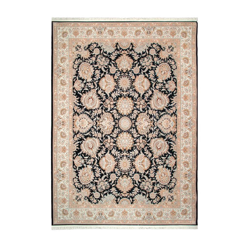 Tapete Iraniano Aubusson Preto com Detalhes em Bege - 200x150cm