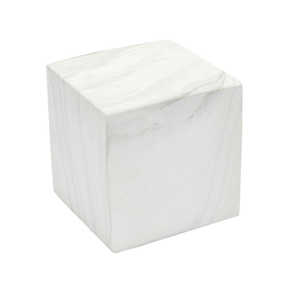 Cubo Decorativo Branco em Cerâmica Marmorizada - 13x13cm