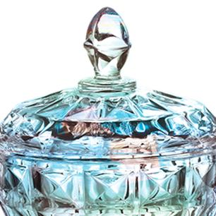 Bomboniere Aquamarine em Cristal Furta-Cor - 17,5x24cm