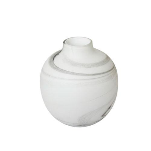 Vaso em Vidro Branco com Cinza - 30x26cm