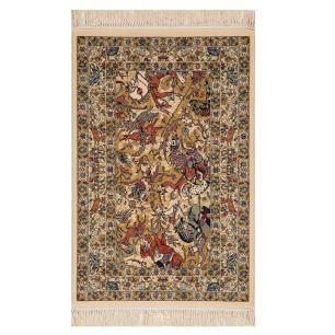 Tapete Persa Bege com Detalhes Colorido - 133x190cm
