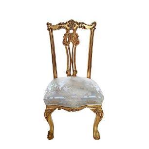 Cadeira de Jantar Bege com Detalhes Dourado - 111x55x54cm