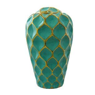 Potiche Decorativo Grande em Porcelana Verde e Dourado