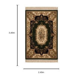 Tapete Persa Verde com Detalhes em Bege - 240x340cm