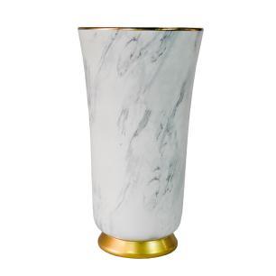 Vaso Decorativo em Porcelana na Cor Branca com Detalhes em Dourado - 44x24cm