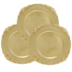 Conjunto com 6 Sousplat Produzido em Resina na Cor Dourada com Detalhes Decorativos - 2x35cm