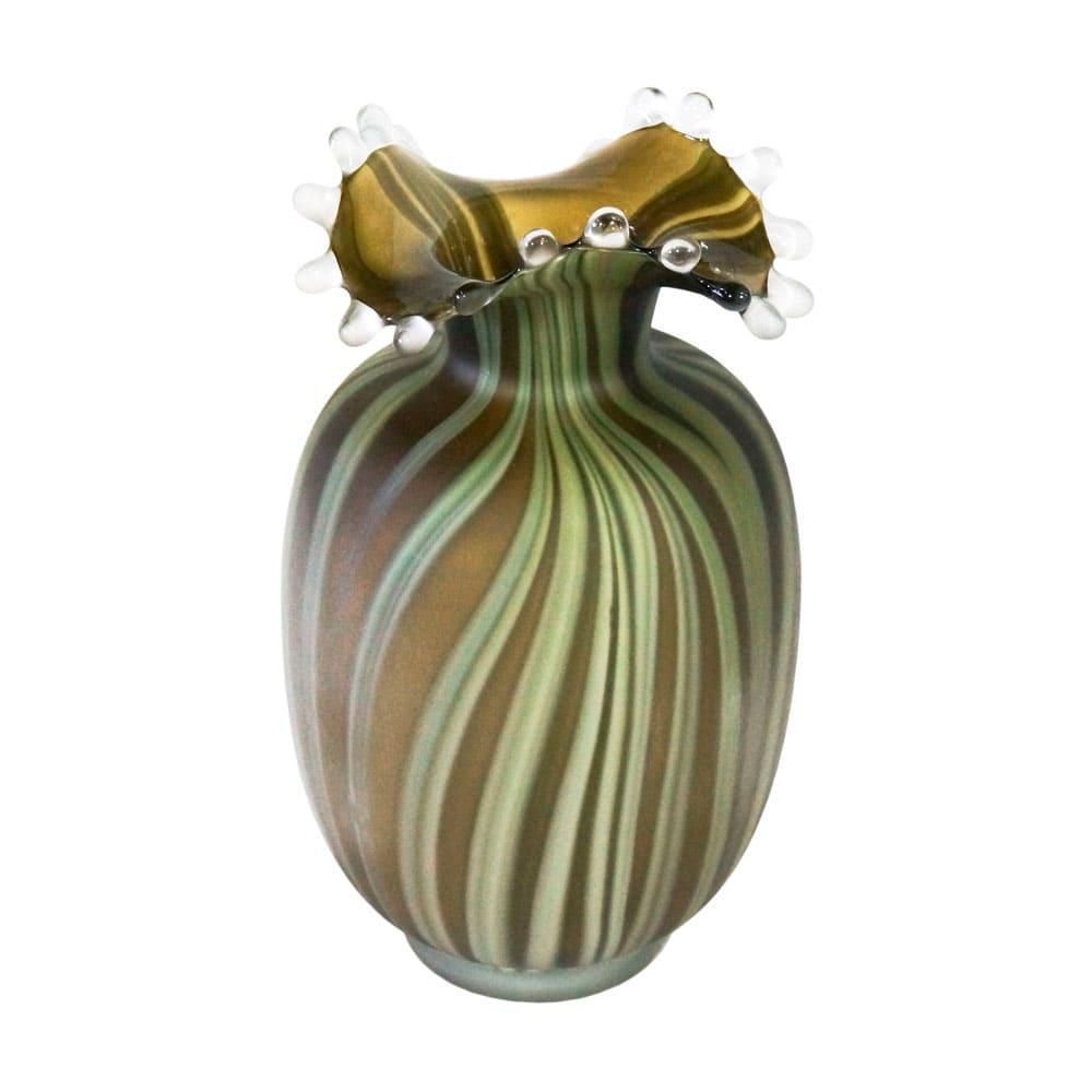 Vaso Decorativo em Vidro na Cor Verde - 32x18cm