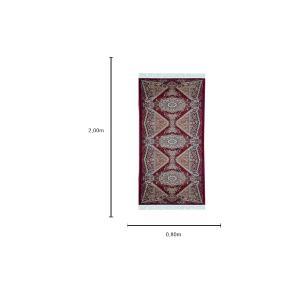 Passadeira Persa Vermelha com Detalhes Bege - 80x200cm