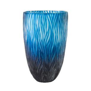 Vaso Decorativo em Vidro na Cor Azul - 28x18cm