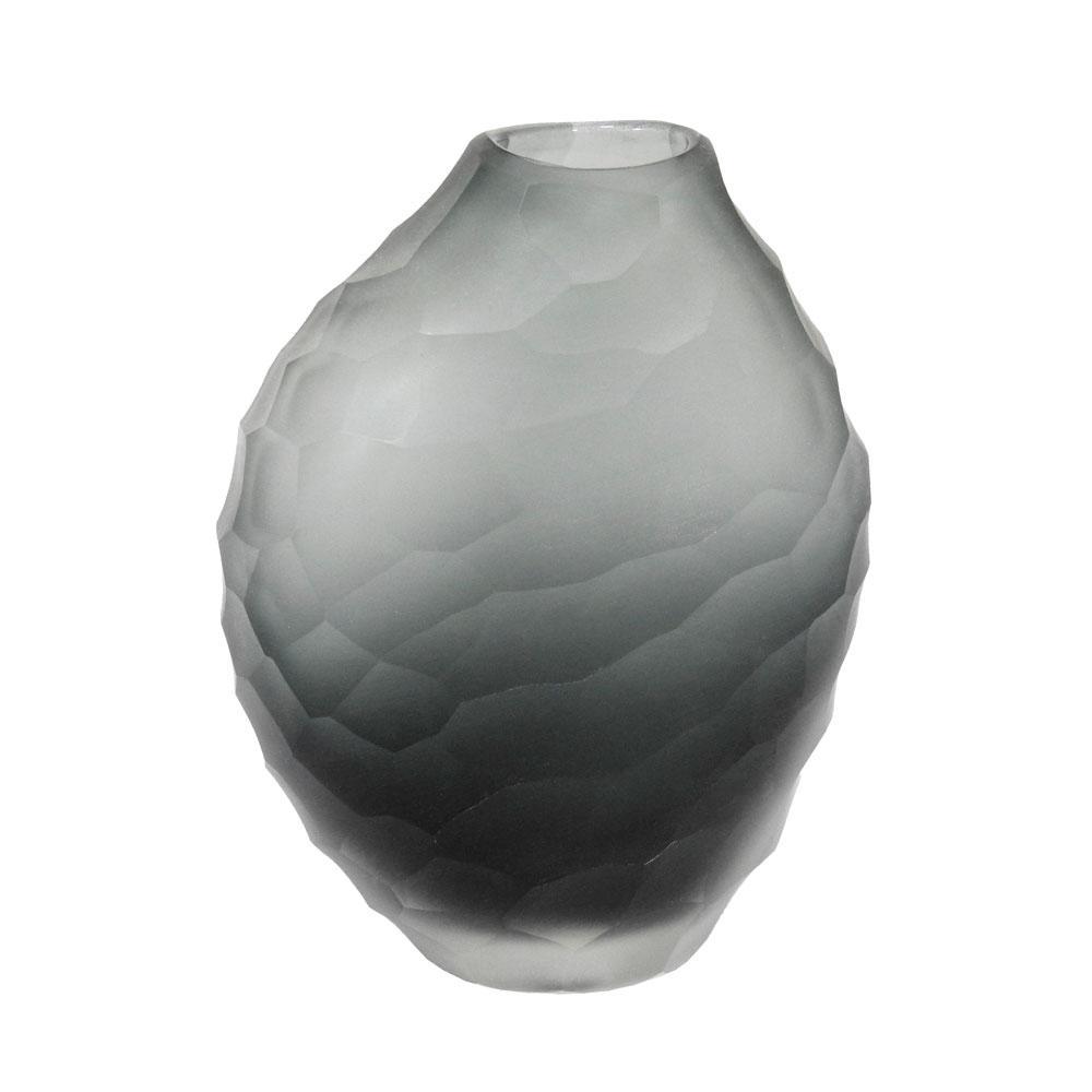 Vaso Decorativo em Vidro na Cor Cinza - 15x11x6cm