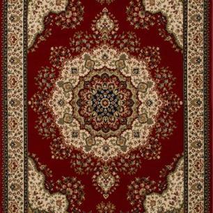 Tapete Persa Tabriz Mahi Vermelho e Bege - 133x190cm
