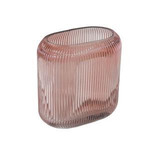 Vaso Decorativo em Vidro Rosa - 17x16x9cm