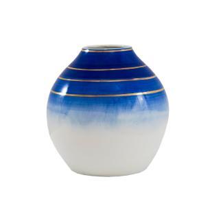 Vaso Decorativo Branco com Detalhes em Azul e Dourado - 18x17x17cm