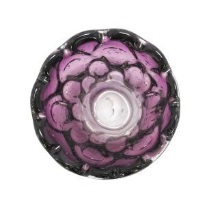 Vaso Decorativo em Murano Roxo com Detalhes - 14x10x14cm