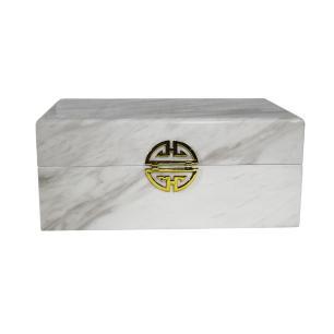Caixa Decorativa em Madeira com Revestimento Marmorizado Branco - 13x30x20cm