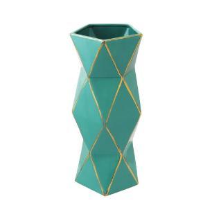 Vaso Decorativo Médio em Porcelana Verde e Dourado - 44x18cm