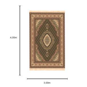 Tapete Persa Tabriz Preto com Detalhes em Bege - 300x400cm