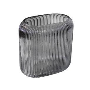 Vaso Decorativo em Vidro Fumê - 20x19x11cm