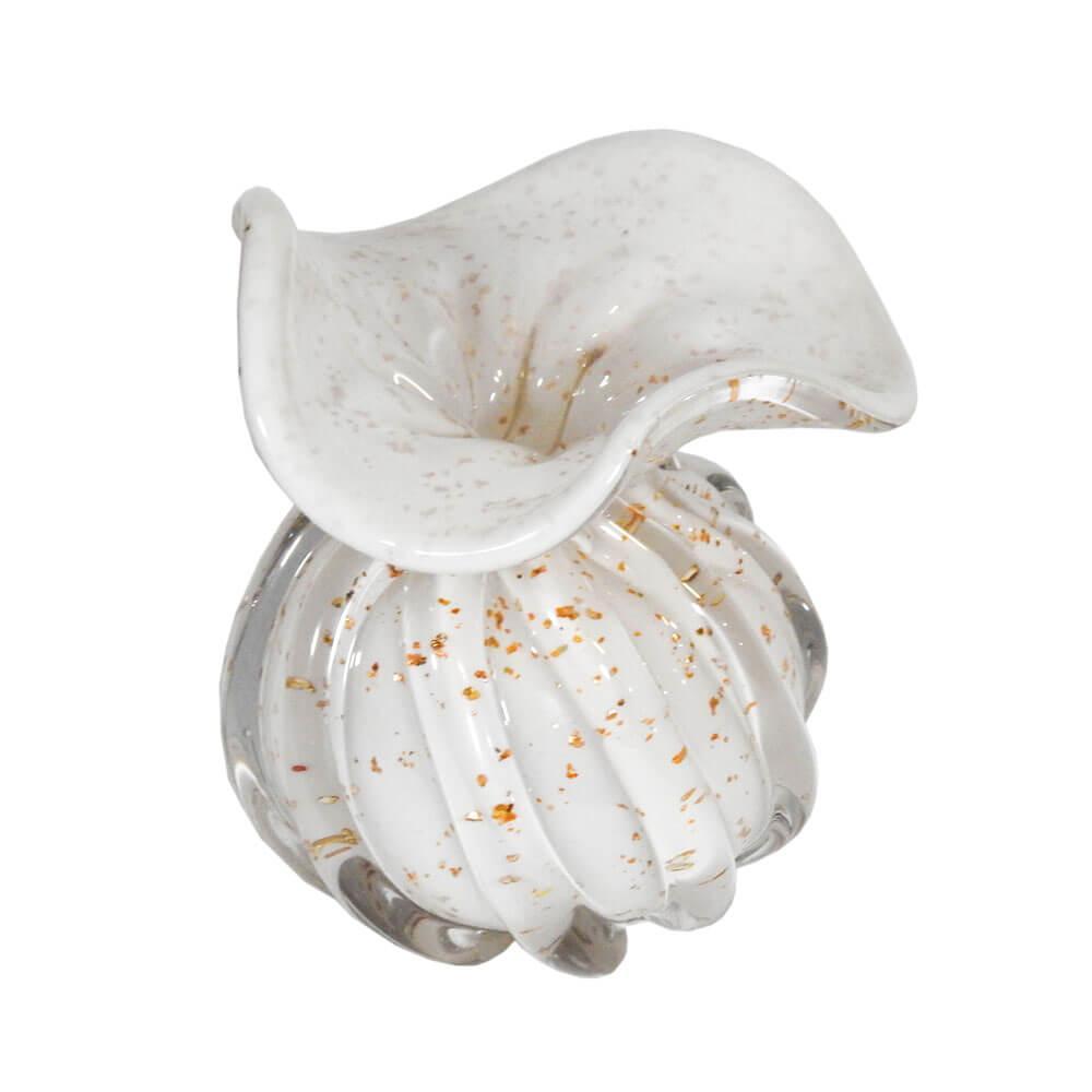 Vaso Decorativo em Murano Branco com Detalhes em Dourado - 11x10cm