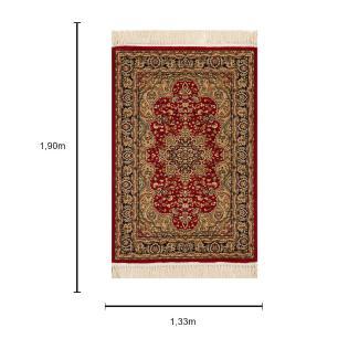 Tapete Persa Bege com Detalhes em Vermelho - 133x190cm