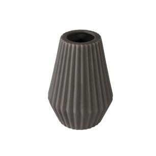 Vaso Decorativo em Cerâmica na Cor Cinza Escuro - 22cm