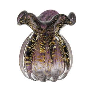 Vaso em Murano Roxo com Detalhes Dourado - 11x14x11cm