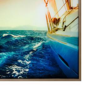 Quadro Decorativo em Vidro com Foto do Barco  - 80x80cm