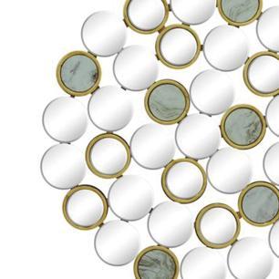 Espelho Moderno Circular Detalhes em Dourado - 80x80cm