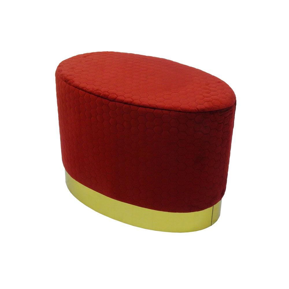 Puff com Base em Metal e Estofado em Veludo Vermelho - 45x61x38cm