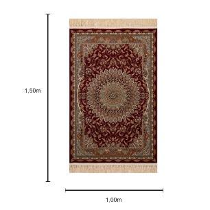 Tapete Persa Vermelho e Bege - 100x150cm