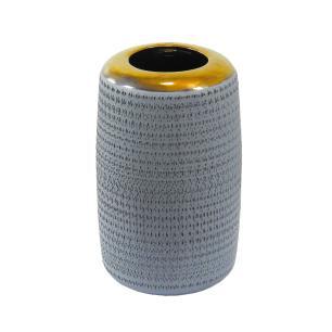 Vaso Decorativo em Cerâmica Cinza - 38x18cm