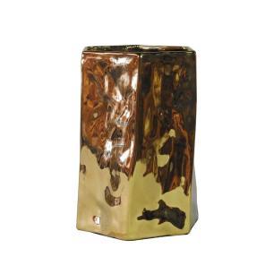 Vaso Decorativo em Porcelana na Cor Dourada - 24x15cm