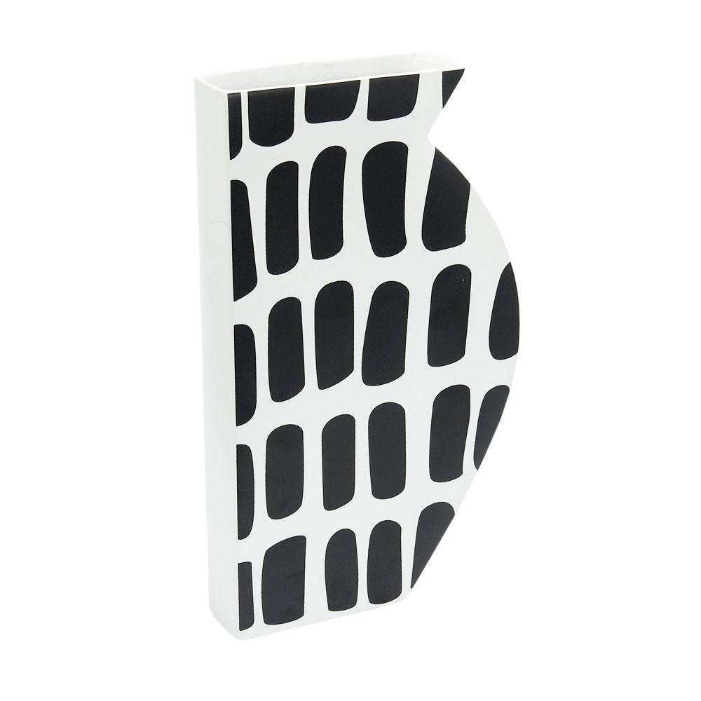 Vaso Decorativo Preto e Branco em Cerâmica - 36x20x05cm