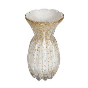 Vaso Decorativo em Murano Branco com Detalhes em Dourado - 24x13cm