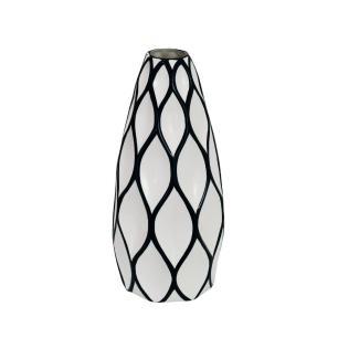 Vaso Decorativo Preto com Detalhes em Branco - 40x15x15cm