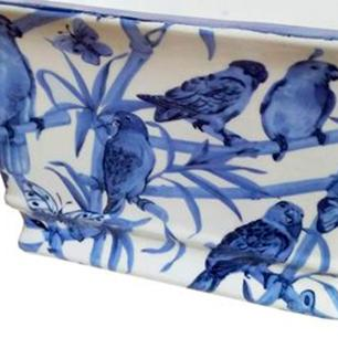 Vaso Decorativo em Cerâmica com Desenho de Pássaros Azuis - 19x30x20cm