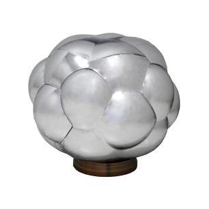 Abajur com Base em Metal Cúpula em Vidro Metálico Prata - 37x37cm