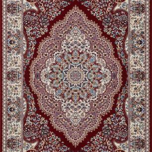 Tapete Persa Mashad Vermelho com Detalhes em Azul Turquesa - 57x90cm