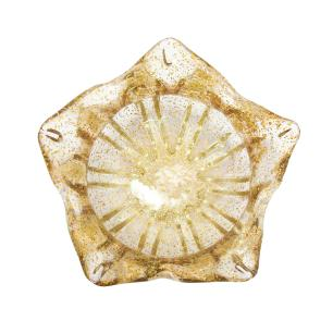 Vaso em Murano Incolor com Detalhes em Dourado - 18x13x18cm