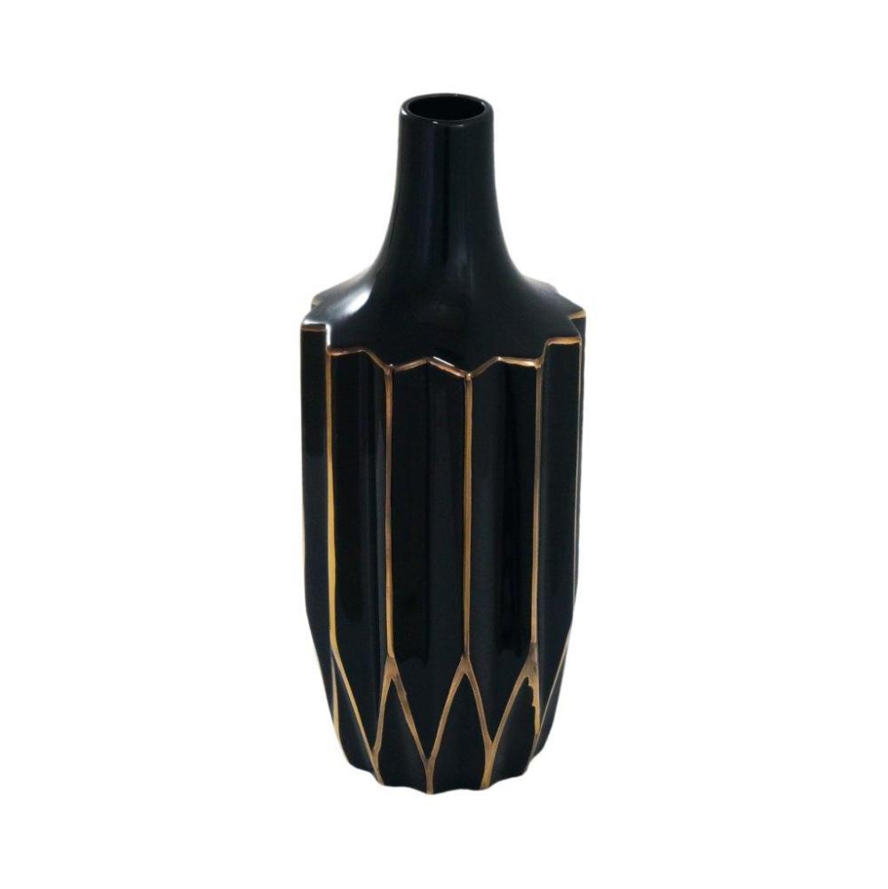 Vaso Decorativo  em Cerâmica Preto com Detalhes em Dourado - 30x10x10cm