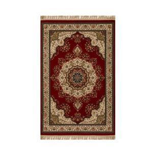 Tapete Persa Tabriz Mahi Vermelho e Bege - 160x235cm
