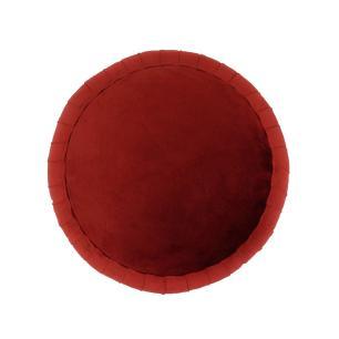 Puff com Base em Metal e Estofado em Veludo Vermelho - 45x45cm