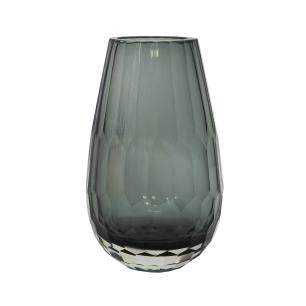 Vaso Decorativo Cinza em Vidro Facetado - 20x10x10cm