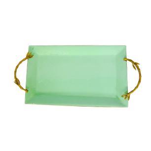 Bandeja Dourada e Verde em Metal - 3x54x28cm