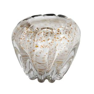 Vaso Decorativo em Murano Branco com Detalhes em Dourado - 14x16cm