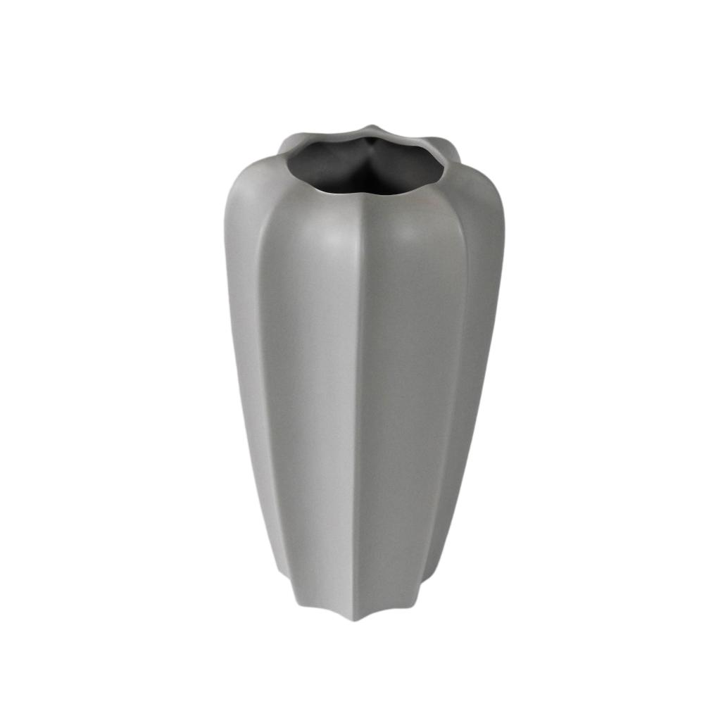 Vaso Decorativo em Cerâmica na Cor Cinza Claro - 28x15cm