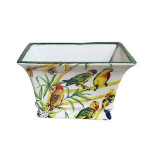 Vaso Decorativo em Cerâmica com Desenhos de Pássaros e Borboletas - 17x26x18cm
