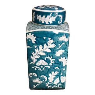Potiche de Cerâmica Adamascado Blue - 17x17x30cm